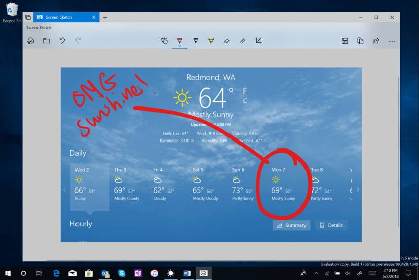 Snipping tool Windows 10 build 17661